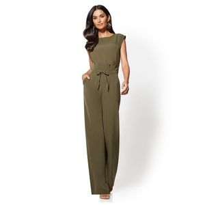 NY&C | Paperbag-Waist Jumpsuit in Woodland Green